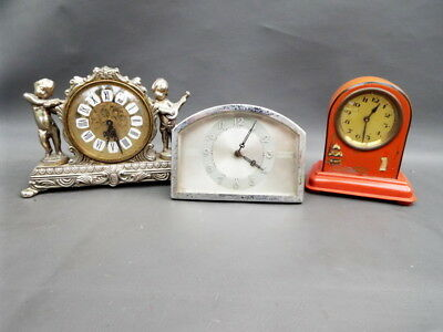 Job lot of 3 vintage mantle clocks for spares parts or repair