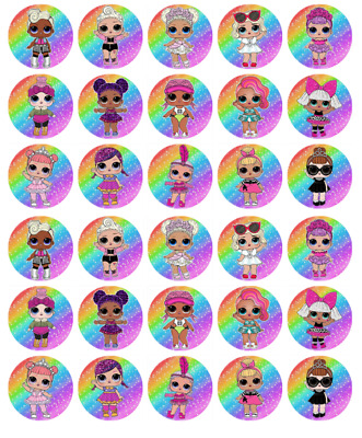 Lol Surprise Dolls Birthday Wafer Cupcake Fairy Cake Toppers