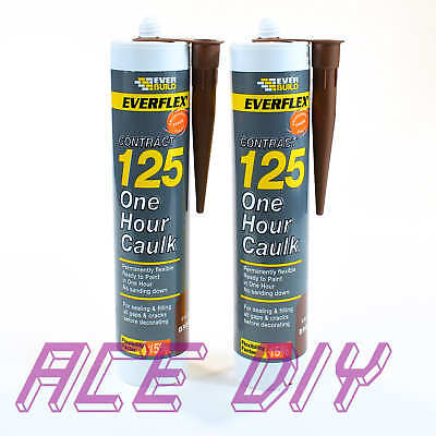 2 x Pack Brown Everbuild 125 One Hour Caulk C3 | Fast Drying Decorators Filler
