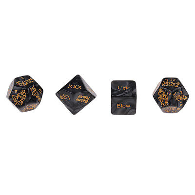 4x Black Sex Position Love Game Dice for Erotic Bachelor Glowing Night Prop