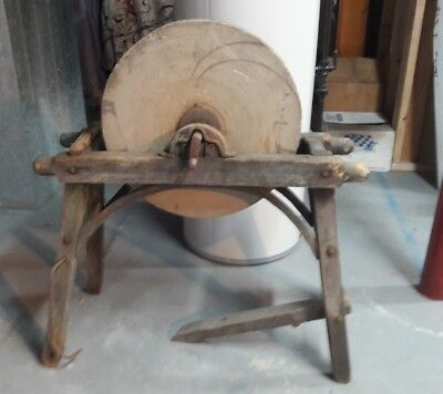 Antique Grinding Sharpening Stone Wheel Farmhouse Vintage Country Chic Yard Art