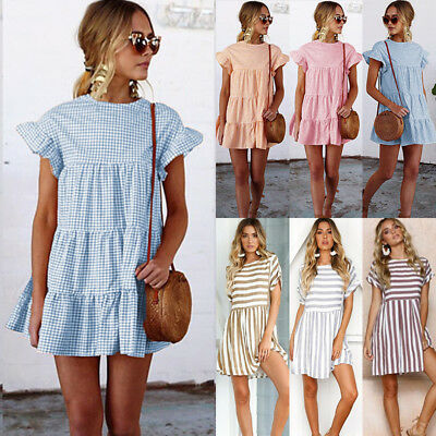 UK Womens Holiday Check Tops T-shirt Ladies Summer Beach Frill Party Mini Dress