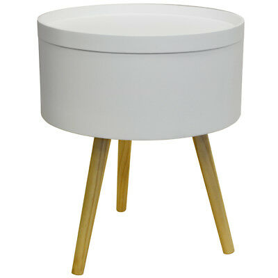 Retro Wood Tray Top End Table / Bedside Table - White / Natural OC1020