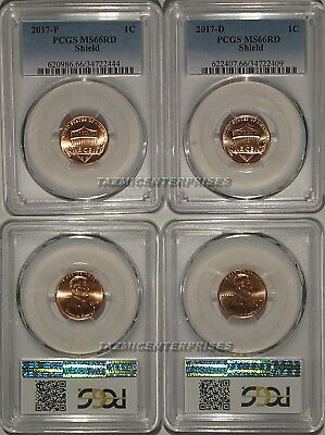 2017 P & D Lincoln SHIELD Cent 2 Coin Set 1c PCGS MS66RD