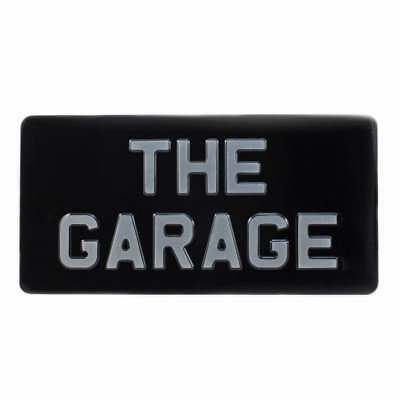 The 1894 Sign Company Embossed Sign THE GARAGE 12 x 6 inches Black & Silver