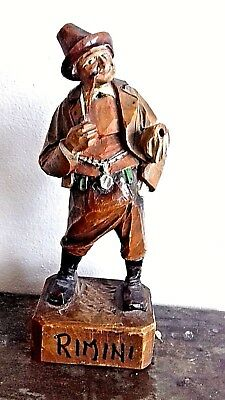 "Black Forest Vintage Carved Wooden Character Smoking A Pipe ""rimini"""