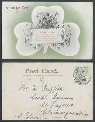 Ireland For Ever, St. Patrick's Day 1906 Old Irish Postcard Clovers, Wishes Warm