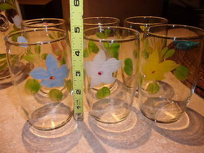 Vtg. Bartlett Collins Gay Fad Painted Flowers  Ice Tea Pitcher With 6 Tumblers