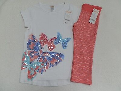 Gymboree Girls Active Outfit Butterfly T-Shirt & Coral Capri Leggings sz 5/6 7/8