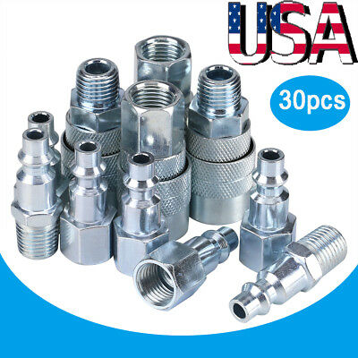 30 pc Quick Coupler Set Air Hose Connector Fittings 1/4 NPT Plug Male/Female US