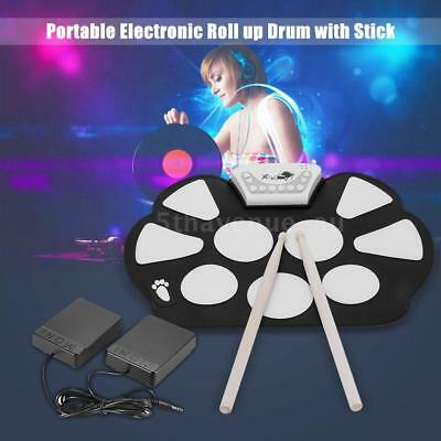 Electronic Roll up Drum Pad Kit Silicon Foldable with Stick Portable Gift