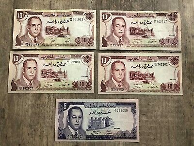 MAROCO 5, 10 Dirhams (1970-85) Set of 5 banknotes