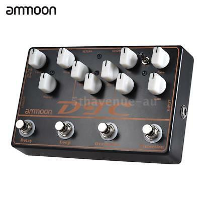 ammoon Electric Guitar Effects Pedal Distortion Overdrive Loop Delay 4-in-1 Pro
