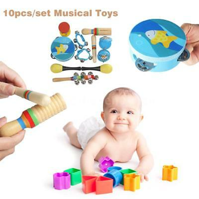 10pcs/set Musical Toys Band Rhythm Kit Xmas Gift for Kids Children Toddlers H2A4