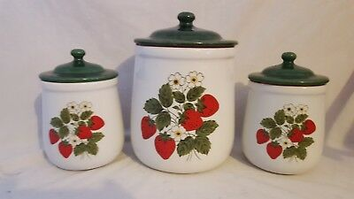 VINTAGE McCOY STRAWBERRY COUNTRY CANISTER COOKIE JARS-SET OF 3