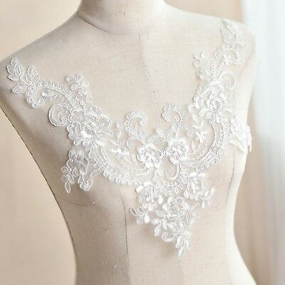 ivory embroidered lace collar applique floral neckline collar tulle lace motif