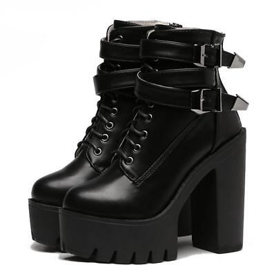 GINZA Tokyo High Heel Chunky Punk Black Gothic Goth Emo Ankle Short Lace up Boot