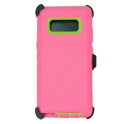 Pink Green For Samsung Galaxy Note 8 Defender Case w/ Clip fits Otterbox