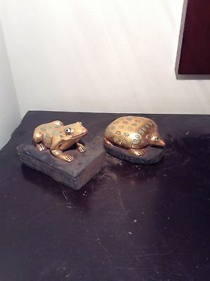 Rare Antique Ancient Egyptian Statue 2 Funeral Objects Frog & Echidna1650-1540BC