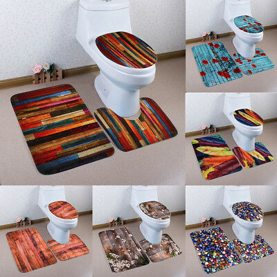 KD_ 3Pcs Lovely Bathroom Floor Non-Slip Door Rug Toilet Lid Cover Bath Mat Set