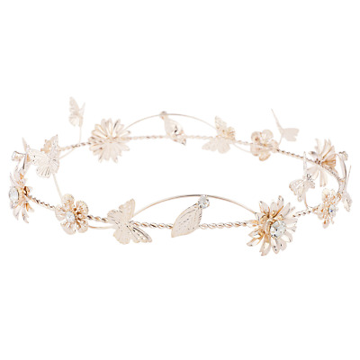 Lux Accessories Rose Gold Tone Metal Flower Floral ButterflyLeafCrown Headband