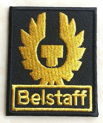 BELSTAFF Logo Patch Embroidered Iron on Badge (Black + Gold) Aufnäher 60mm NEW