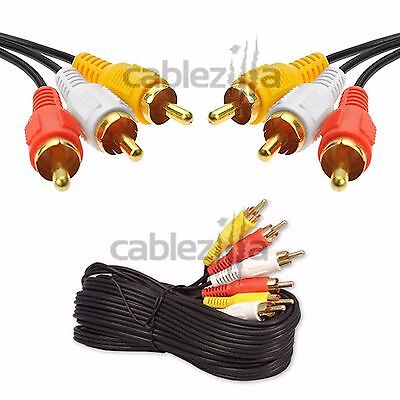 25FT 3RCA AV A/V Audio Video Gold Plated Male Cable Colored Composite VCR DVD TV