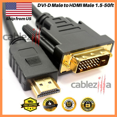 DVI-D Male to HDMI Male Cable Gold 24+1 HDTV PC 1.5ft 3ft 6ft 10ft 15ft 25f 50ft