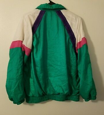 Vtg Green Large Windbreaker Suit Colorblock Track Suit Zip Jacket Pants 80s 90s