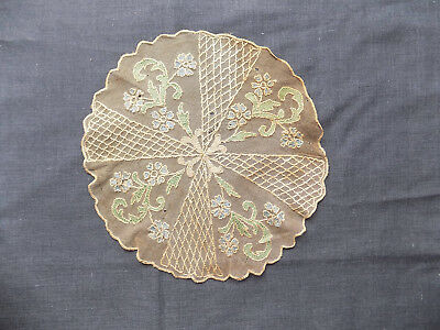 Antique Vintage Handembroidered Round Lace Tablecloth Diameter 28 cm