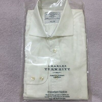 "Mens White Shirt CHARLES TYRWHITT 16"" 41cm Slim Fit Button Cuff 34"" Sleeve Shirt"