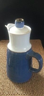 """England Langley Denby Chatsworth 9-3/4"""" 6-cup Coffee Pot & Lid Blue Tan Floral"""