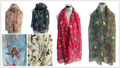 Women Ladies Soft Oriental Birds Pattern Scarf Shawl Scarves Stole UK SELLER