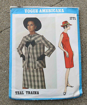 Original  1960s  Vogue Americana  Pattern Dress & Jacket Teal Traina FF Uncut 32