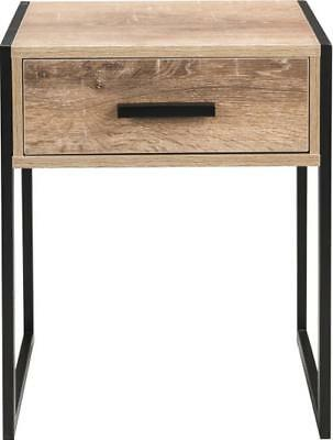 Stylish INDUSTRIAL Bed Side Table Black Legs Wooden Top Draw Home Bedroom Lounge