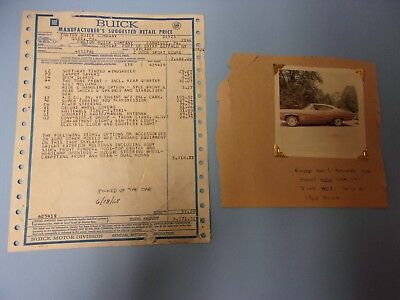 1968 Buick Skylark Sport Coupe original sales invoice with photo of car