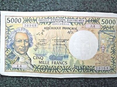 TAHITI 5000 Francs Banknote World Paper Money Currency J.4 Papeete Cinq Mille