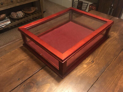 "NEW - COUNTER TOP DISPLAY CASE MAHOGANY DOVETAIL WOOD & GLASS 23"" x 17 1/2"" x 6"""