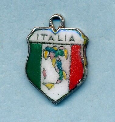 Vintage 800 silver enamel Italia travel shield charm