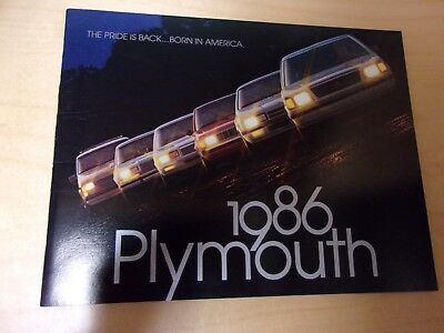 1986 Plymouth full model line sales brochure catalog