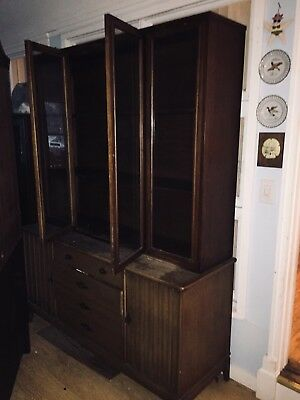 Brasilia Solid Walnut Mid-century Modern Hutch/China cabinet by Broyhill Premier