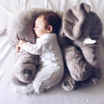 Baby Lumbar Pillow Long Nose Elephant Soft Plush Stuffed Toy Cuddly Dolls DXA