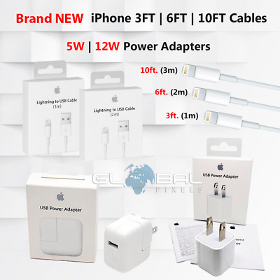 OEM iPhone Cable Charger 3ft 6ft 10ft USB 5W 12W power adapter Apple 5 6 7 8 lot
