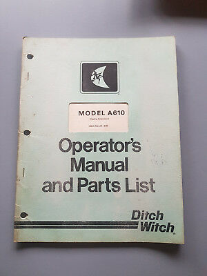 Ditch Witch A610 Digging Attachments  Operators Manual and Parts List
