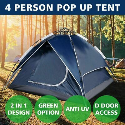 4 Person Tent Double Layer Instant Auto Pop Up Camping Hiking Sun Shelter Blue