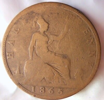 1865 GREAT BRITAIN 1/2 PENNY -Scarce Victorian Coin -Free Ship - Britain Bin #B