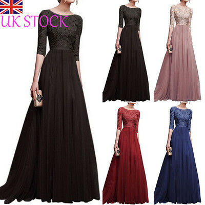Sexy Women Bridesmaid Ball Prom Gown Formal Evening Party Cocktail Long Dress UK
