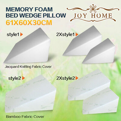 Cool Gel Memory Foam Wedge Pillow Cushion Bed Back Support Sleep with Cover