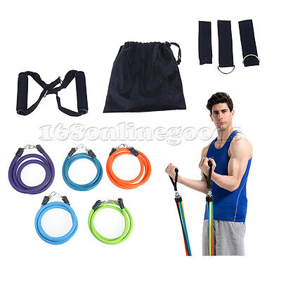 New 11PCS Resistance Band Door Body Gym Yoga Heavy Tension Rope Fitness Stretch