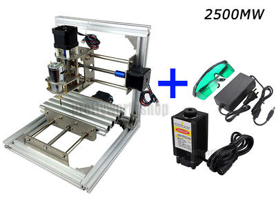 NO VAT 2500mW Laser/CNC Mini Milling Engraving Machine 3 Axis Carve DIY Wood PCB